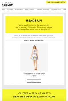 Ecommerce Marketing Strategy Kate Spade Abandoned Cart Workflow