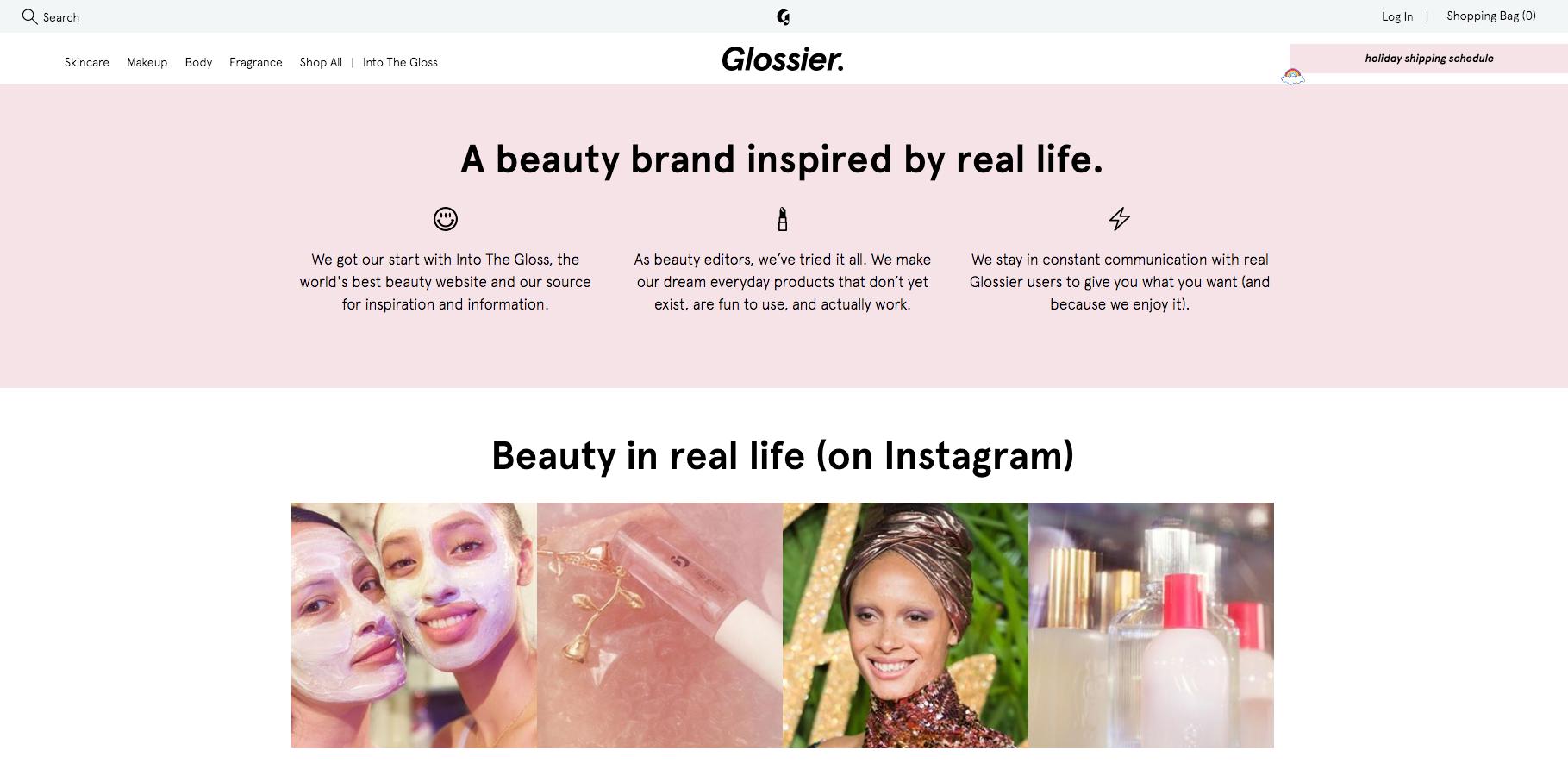 Glossier Instagram Feed on Homepage