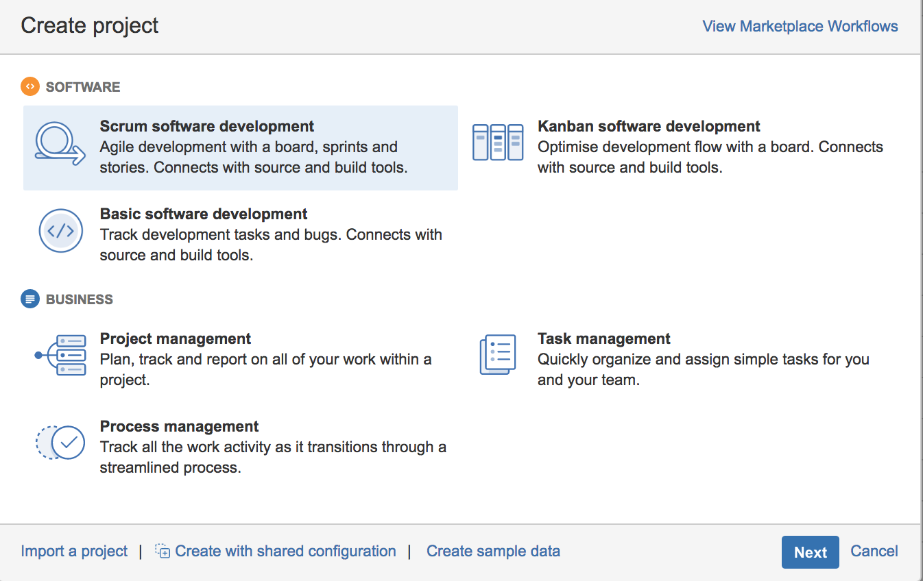 JIRA Software Projects vs. Business Projects