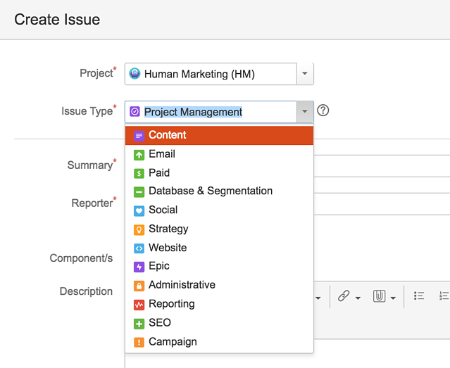 Custom Marketing Issue Types in JIRA