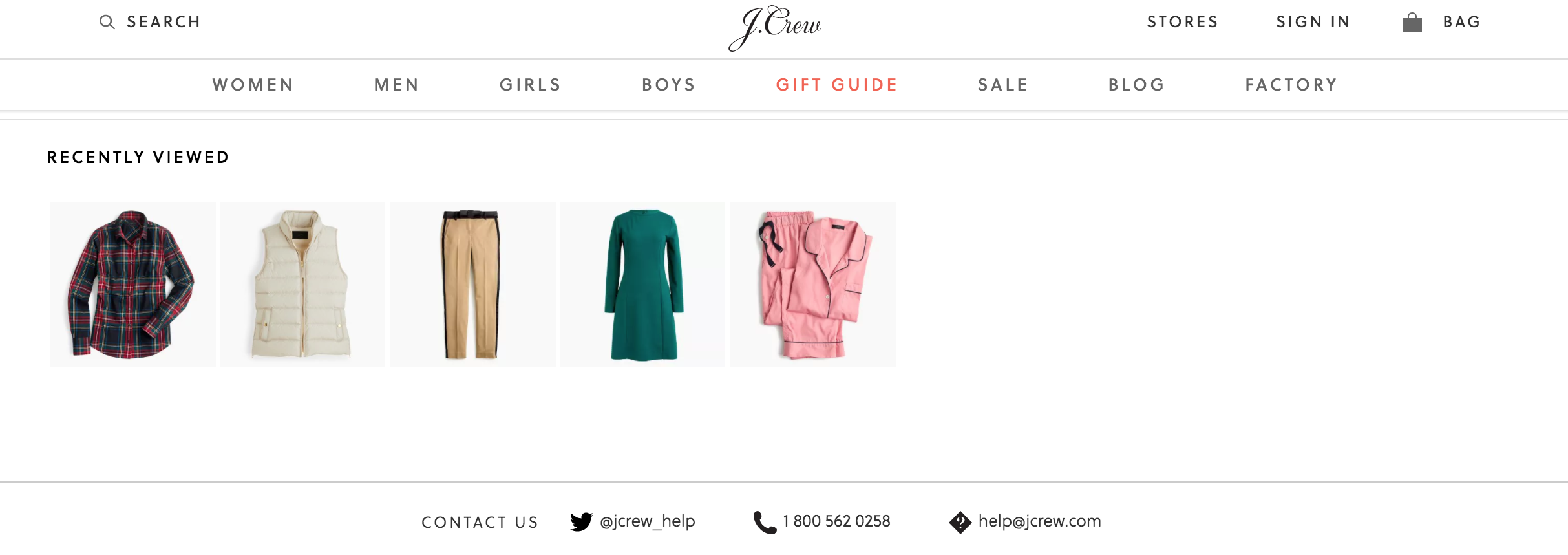 J. Crew's ecommerce product page trust signals