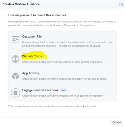 Facebook Marketing Tips: Retargeting Website Visitors Step 3